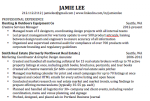For An Example Look At The Hunting Outdoors Equipment Co Experience On Jamie Lees Resume Since It Reflects Only A Four Month Position