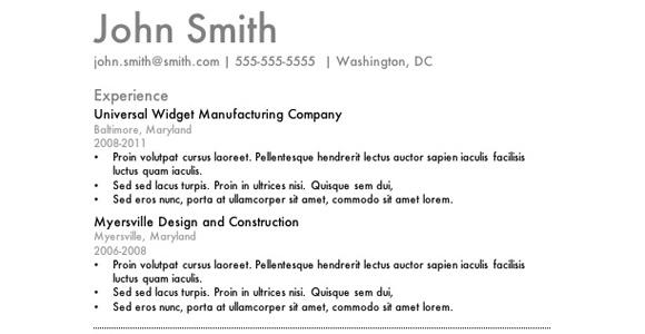 best simple resume