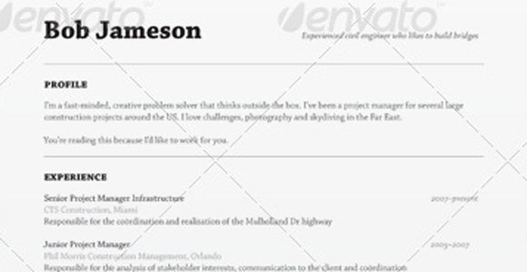 envato resume template the muse - Resume Templats