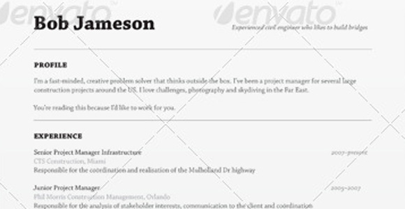 envato resume template the muse - Great Resume Sample