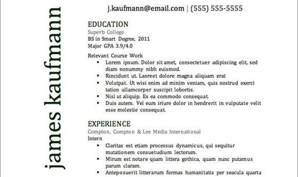 Top Resume Templates Including Word Templates – Top Resume Template