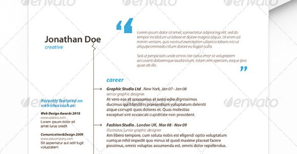 envato resume template 4 - Resume Header Templates