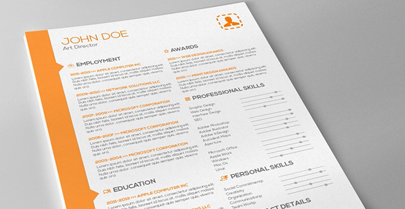 Attractive Resume Template Indesign Creative Market Orange Resume Template 6