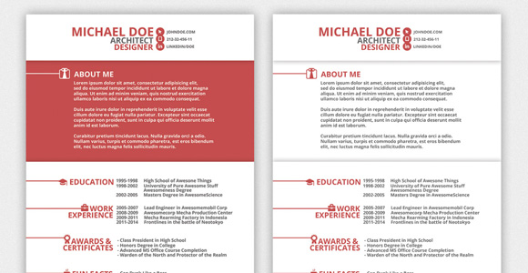 creative market red resume template 9 - Interesting Resume Formats