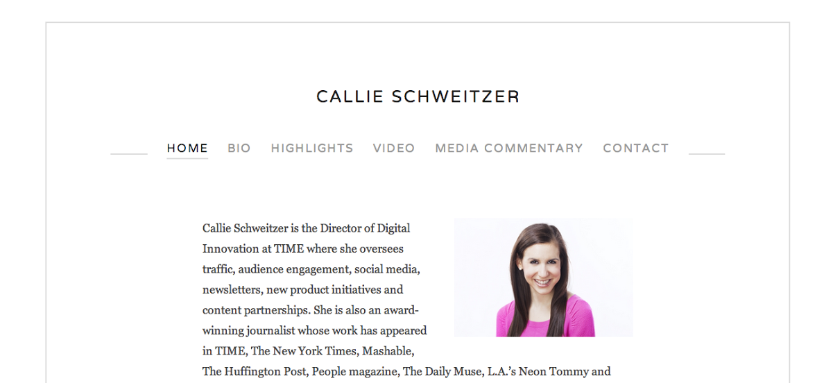 12. Callie Schweitzer  Website Resume Examples