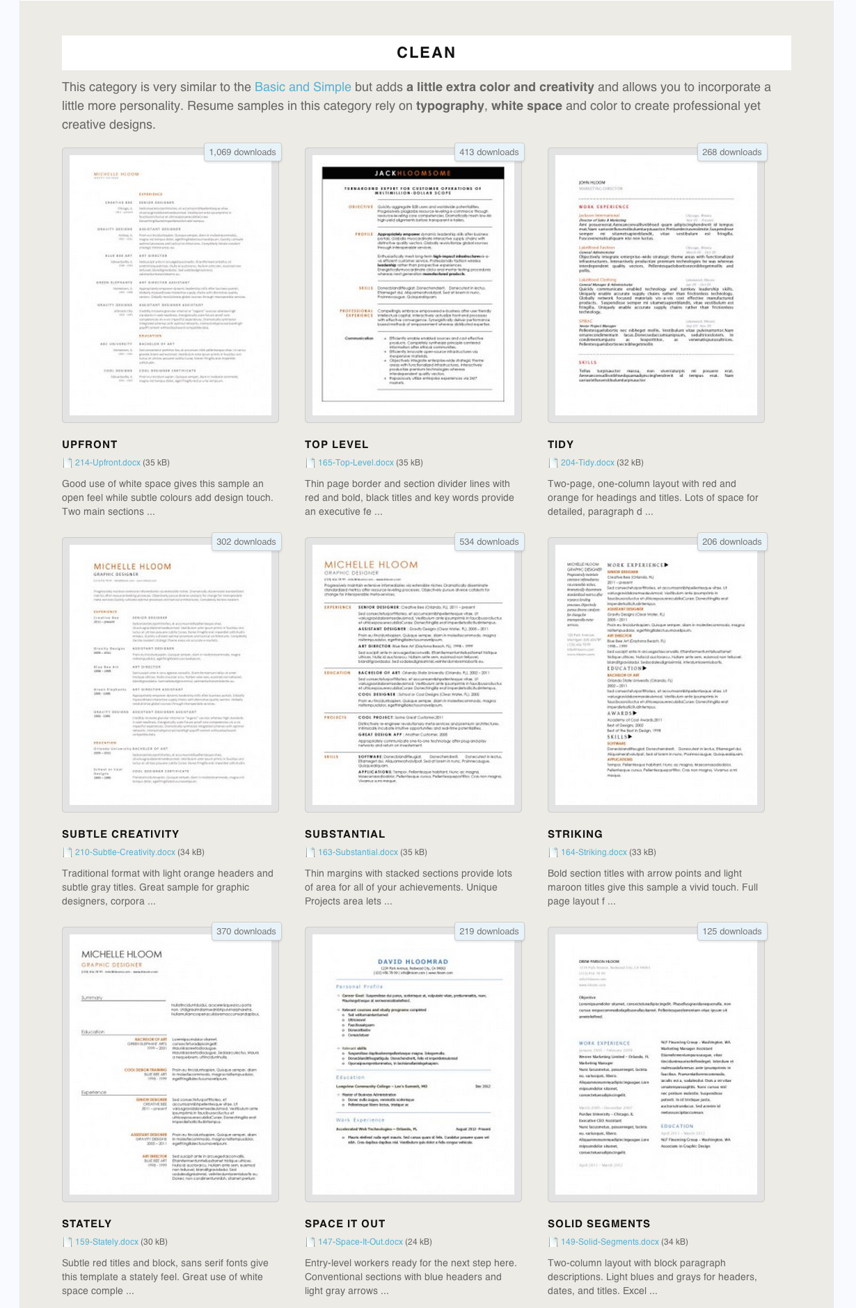 free resume templates - Free Resume Templates Downloads Word
