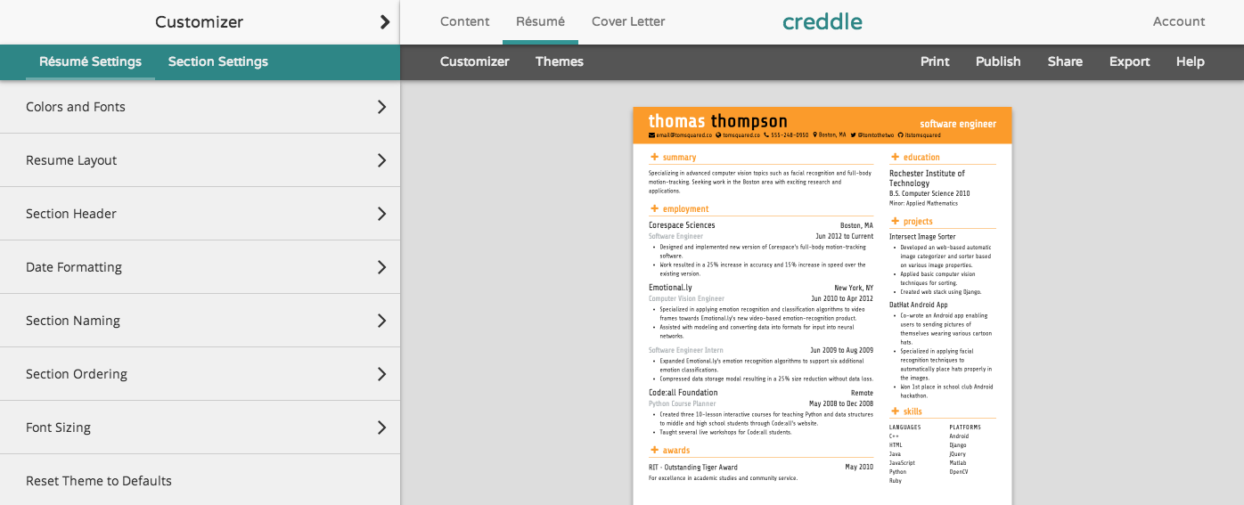 Creddle Is A Completely Free Resume Making Site That Tailor Makes An  Auto Formatted Document From Your Personal Information (enter Manually Or  Sync From ...
