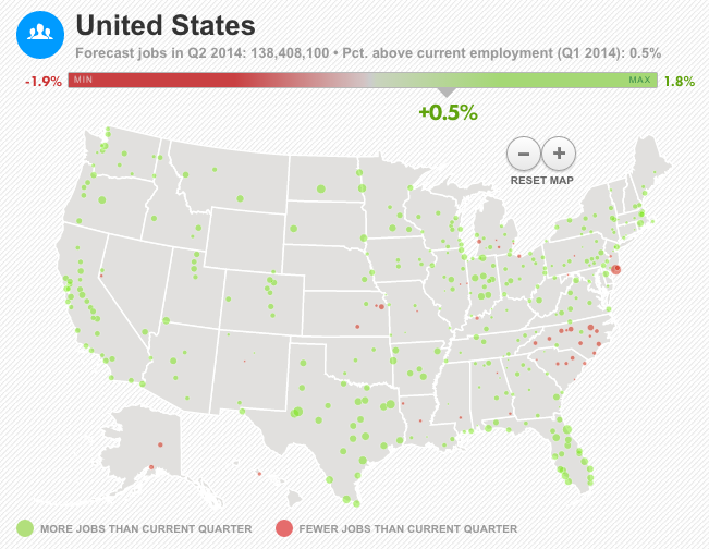 Cost Of Moving For A Job The Muse - Us map job growth