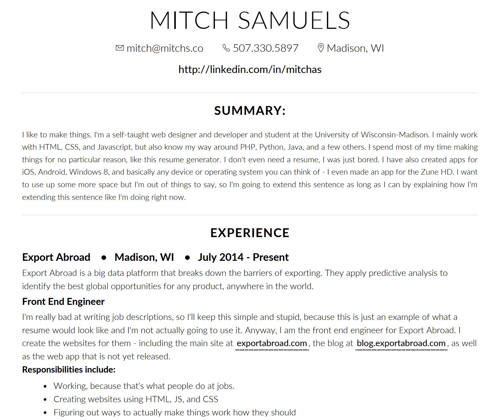 the resume design tool you need the muse note we love the look here but know that the muse only recommends using a summary section for specific reasons