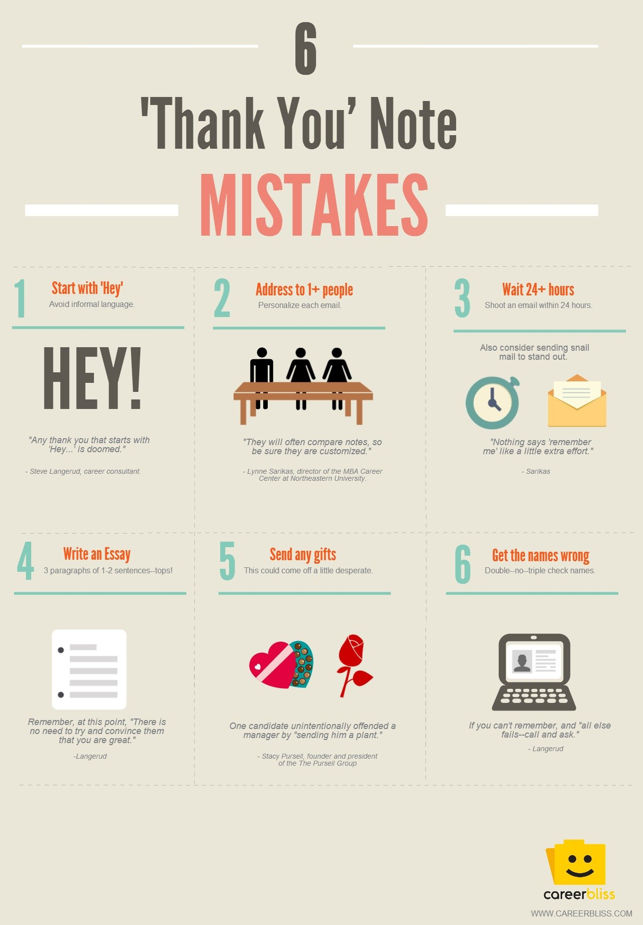 6 thank you note mistakes to avoid after an interview the muse infographic courtesy of careerbliss photo of thank you note courtesy of shutterstock