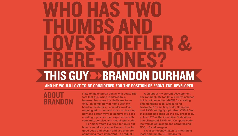 Brandon Durham one page website