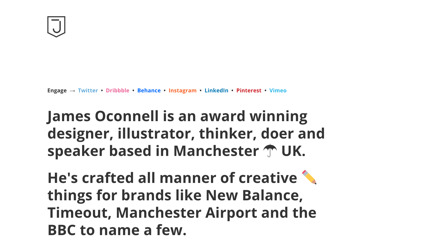 James Oconnell one page website