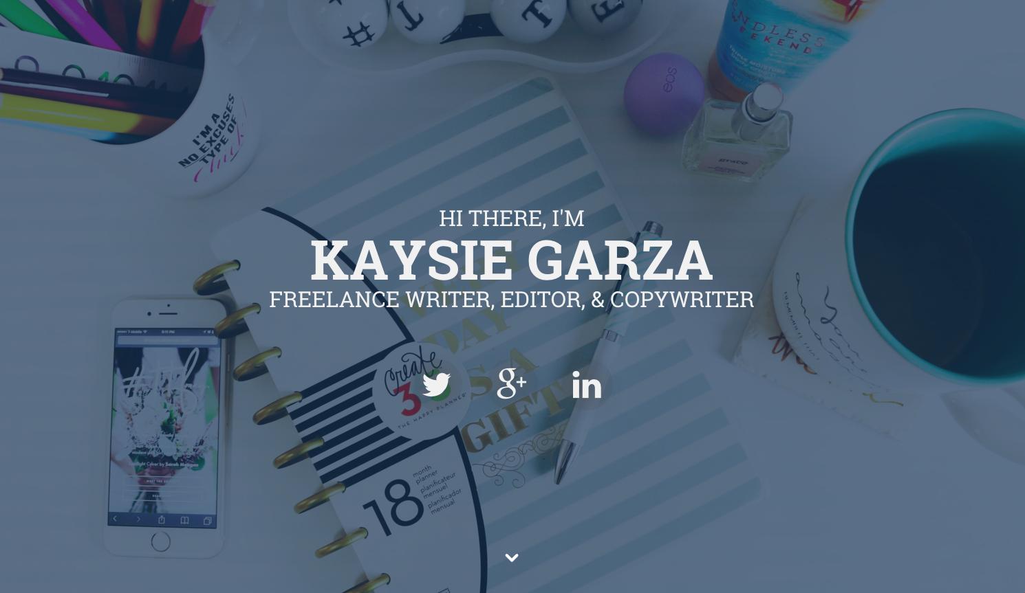 Kaysie Garza one page website