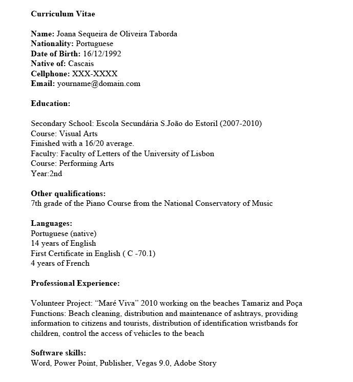 Nice My First Resume Regarding Resume Me