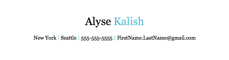 heres an example - Resume Header