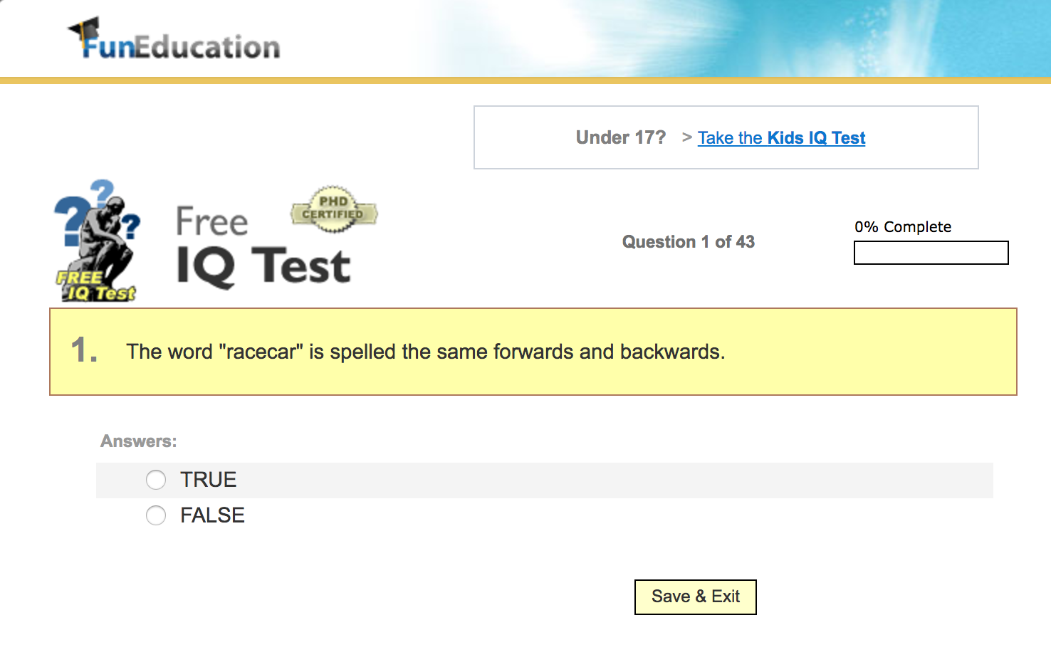 fun education iq test - Free Career Assessment Tests Review